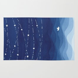 night sky, ocean painting Rug