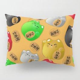Fun Colorful Maneki-neko cats pattern on yellow Pillow Sham