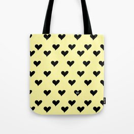 Retro Hearts Pattern Pastel Yellow Tote Bag