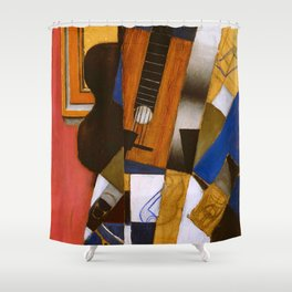 "Juan Gris ""Guitar and Pipe""(light) Shower Curtain"