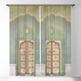 Green gate City Palace Jaipur, India Sheer Curtain