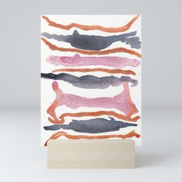 Abstract Pink Copper Watercolor , Salted Caramel Mini Art Print