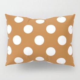 Liver (dogs) - brown - White Polka Dots - Pois Pattern Pillow Sham
