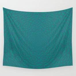 Aurora Turquoise and Blue Delicate Lace Kaleidoscope Wall Tapestry