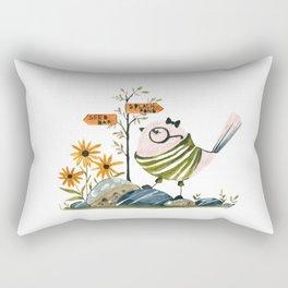 Cute Watercolor Bird Illustration Nursery Art Print Funny Whimsical Style Rectangular Pillow