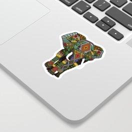 floral elephant teal Sticker