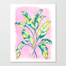 Neon Banana Leaves Canvas Print