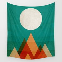 desert Wall Tapestries featuring Full moon over Sahara desert by Picomodi