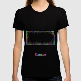 Rainbow Kansas map T-shirt