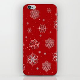 Silver snowflakes iPhone Skin