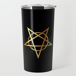 Golden inverted upside down Pentagram antichrist symbol Travel Mug