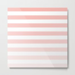 Pink and White Ombre Stripe Metal Print