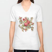 vintage flowers V-neck T-shirts featuring vintage  by mark ashkenazi