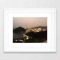 hong kong Framed Art Prints featuring Hong Kong  by Isutave
