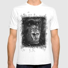 The Wise Simian (Gorilla) MEDIUM White Mens Fitted Tee