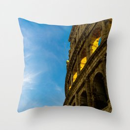 Sunset Hitting The Roman Colosseum Throw Pillow