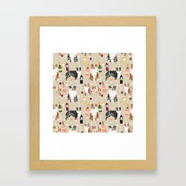 Australian Shepherd blue and red merle wine cocktails yappy hour pattern dog breed Framed Art Print