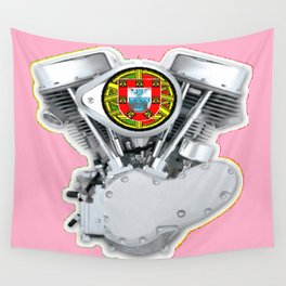 Portuguese Panhead Hot Pink. Wall Tapestry