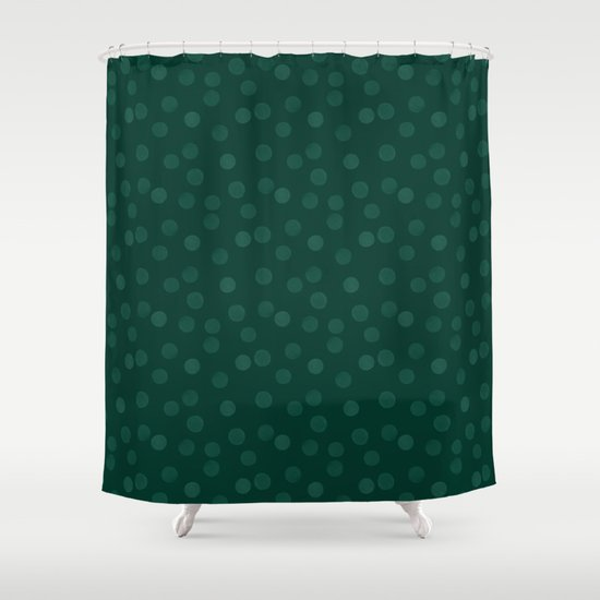 Dark Green Watercolor Polka Dot Shower Curtain By