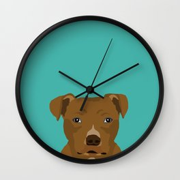 Pitbull dog head cute gifts for rescue pibbles dog breed art Wall Clock