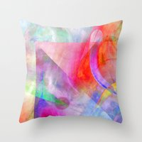 funky Throw Pillows featuring Funky Art  by Christine baessler