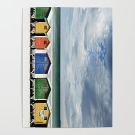 Beach Huts - Colorful houses and Sea, Cape Town, South Africa Poster