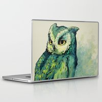 background Laptop & iPad Skins featuring Green Owl by Teagan White