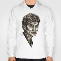 david tennant Hoodies featuring David Tennant - Doctor Who - Allons-y (Drawing) by ieIndigoEast