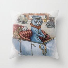 Louis Wain - The Cat Chauffeur Throw Pillow