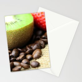 Kaffeebohnen Kivi Erdbeere Coffee beans strawberry Stationery Cards