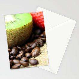 Kaffeebohnen Kivi Erdbeere Coffee beans strawberry Stationery Cards