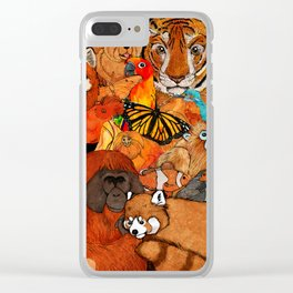 Orange Animals Clear iPhone Case