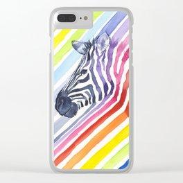 Animal Zebra Rainbow Clear iPhone Case