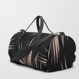 Rosegold Palm Tree Leaves on Midnight Black Duffle Bag