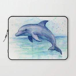 Dolphin Watercolor Sea Creature Animal Laptop Sleeve