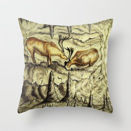 Rock Shelter Reindeer  Throw Pillow