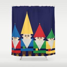 Elves on Blue Shower Curtain