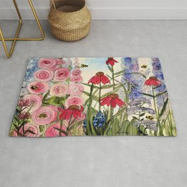 Cottage Garden Flower Whimsical Acrylic Painting Rug