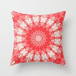 Star White and Red Butterfly Motif Mandala Throw Pillow