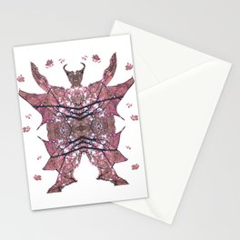 Horned Man V3 cut from Tree Leaf Photo 801 Fractal, with wings and hoofed feet. Stationery Cards