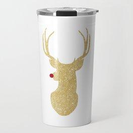 Rudolph The Red-Nosed Reindeer | Gold Glitter Travel Mug