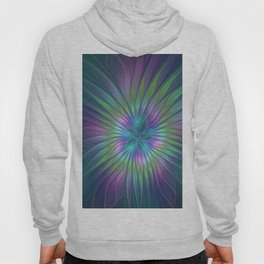 Colorful and luminous Fantasy Flower, Abstract Fractal Art Hoody