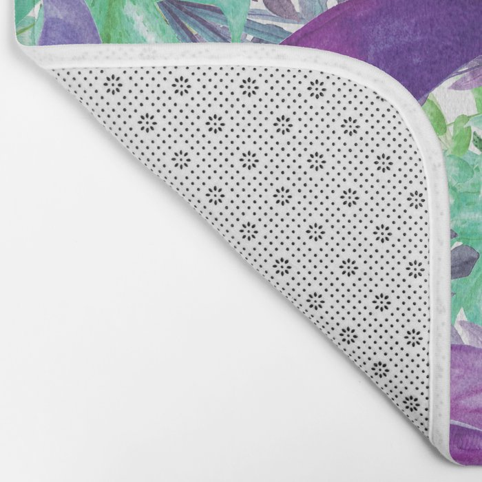 leaves and flowers Bath Mat