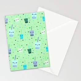 Happy Boba Bubble Tea Green Stationery Cards