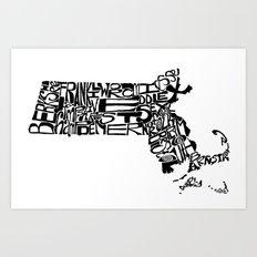 Typographic Massachusetts Art Print
