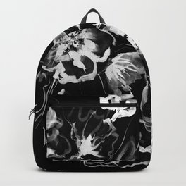 Boldly White - painted ink flowers on black background Backpack