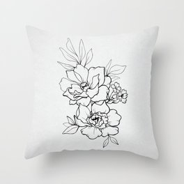 Peony Blossoms Vertical - Black Throw Pillow
