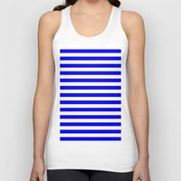 stripes Tank Tops featuring Horizontal Stripes (Blue/White) by 10813 Apparel