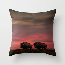Two American Buffalo Bison at Sunset Throw Pillow
