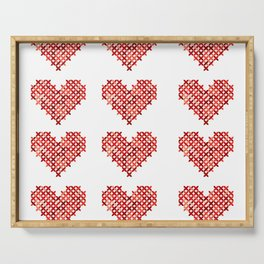 Cross Stitched Hearts Serving Tray
